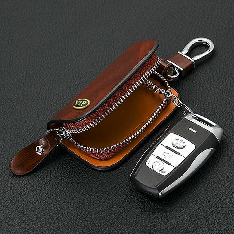 SNCN Leather Car Key Case Cover Key Wallet Bag Keychain Holder For Cadillac ATS CT6 CTS XT5 XTS ELR SRX Escalade XT4