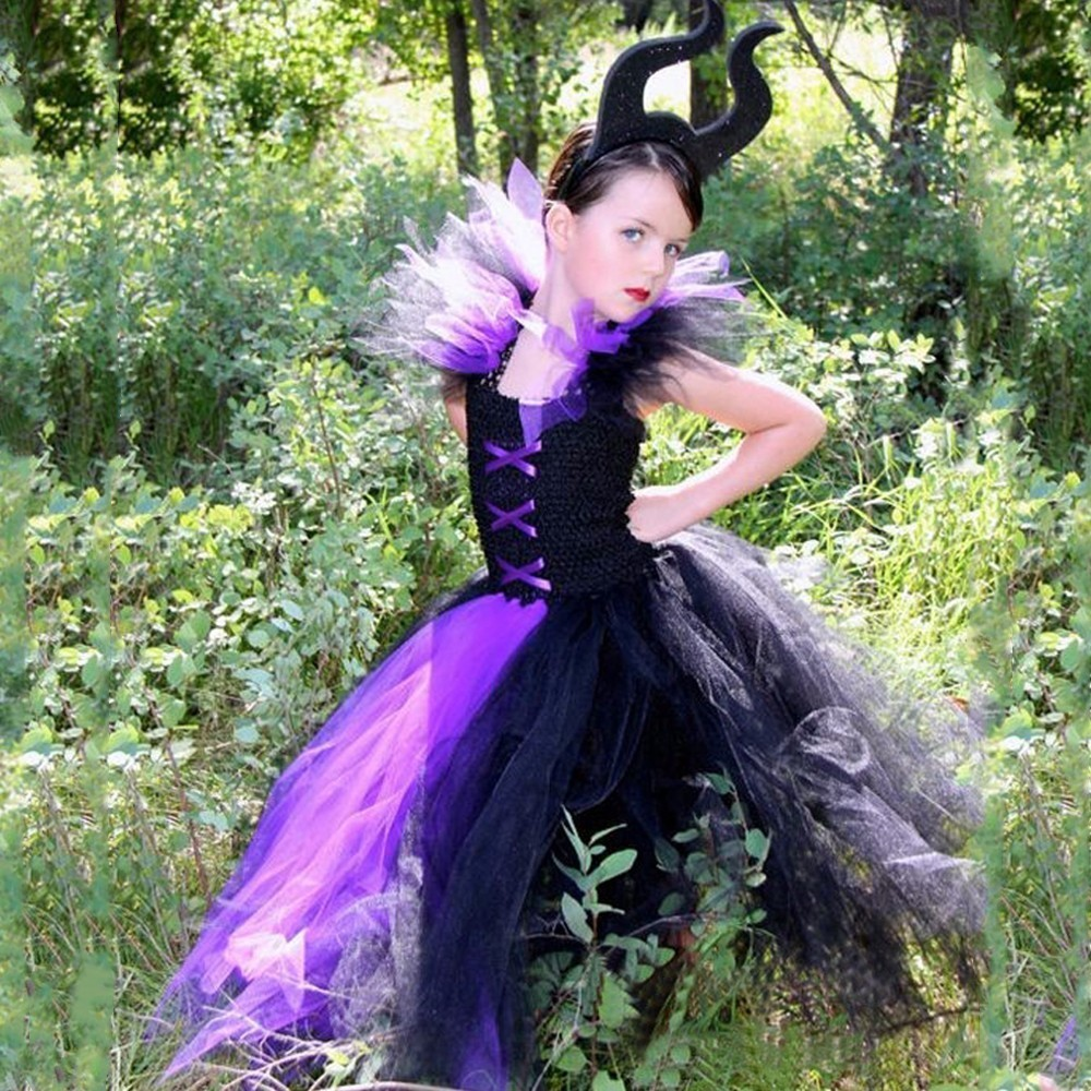 Image 3 - Maleficent Evil Queen Girls Tutu Dress Tulle Children Kids Party Dresses for Girls Carnival Halloween Witch Cosplay Costume-in Dresses from Mother & Kids