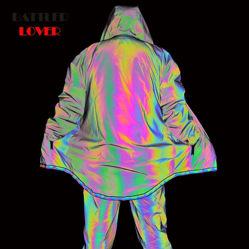 Men's M Reflective Jackets Colorful Long Reflective Jackets Casual Windbreaker Men Waterproof Jacket Coat For Male Punk Hip Hop