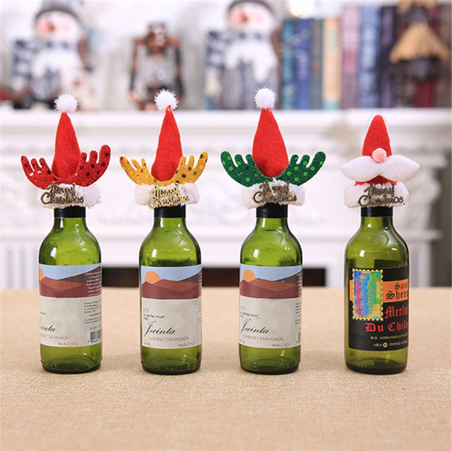 Christmas Wine Stoppers.Us 1 55 33 Off 5pcs Set Christmas Wine Bottle Cover Hat Table Decor Christmas Bottle Cap Party Christmas Bottle Cap Decoration In Wine Stoppers From