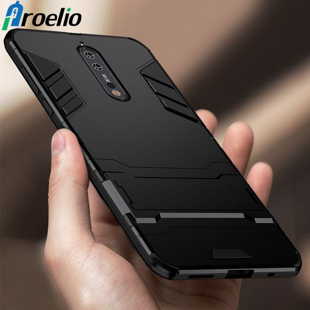 big sale aeac5 02f96 US $2.39 40% OFF|Proelio Hybrid Armor 2 in 1 Shockproof Phone Case For  Nokia 5 6 Soft TPU+Hard PC Kickstand Back Cover For Nokia 8 7 Plus  Fundas-in ...