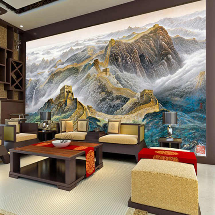 Large Wall Art For Living Room 3d Large Photo Murals Wallpapers Chinese Landscape Wall