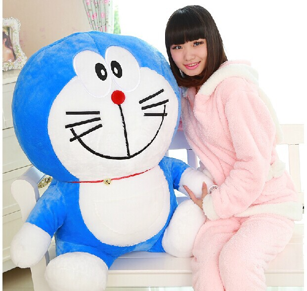 Énorme belle peluche bleu doraemon jouet grand sourire créatif doraemon poupée dessin animé poupée cadeau poupée environ 90 cm