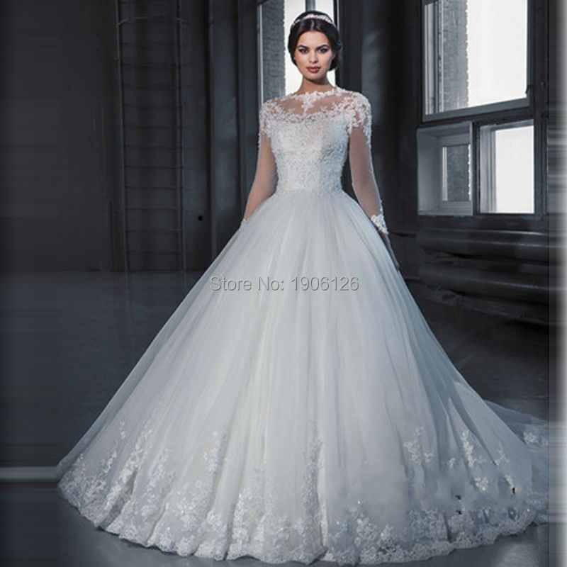 Vestido de noiva princesa Winter White Ball Gown Wedding Dresses ...