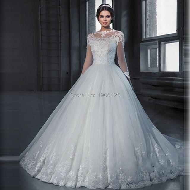 vestido de noiva princesa winter white ball gown wedding dresses