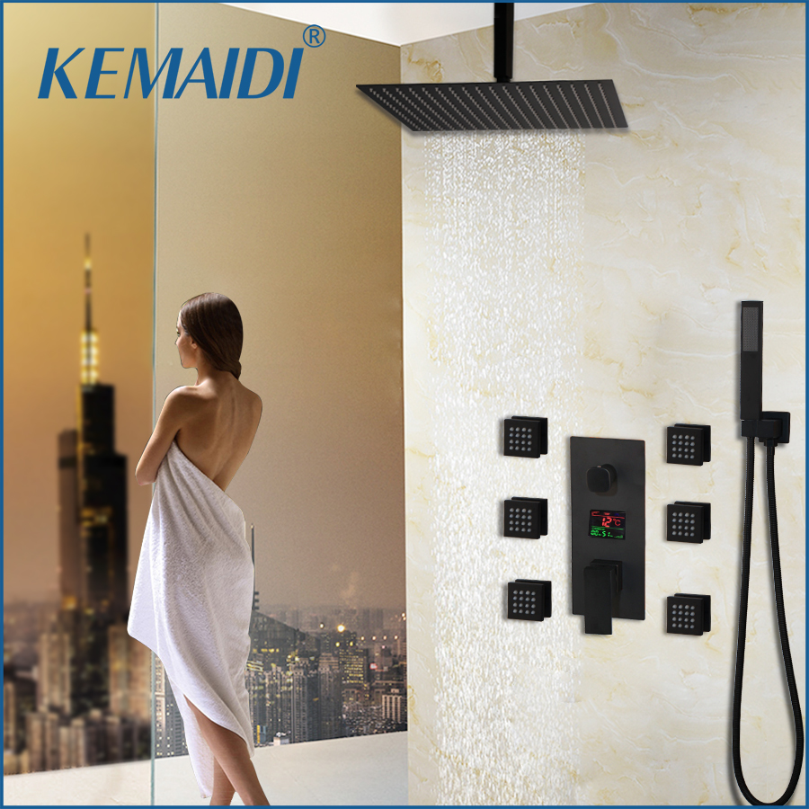 KEMAIDI Bath Shower Faucet Black Temperature Digital Display Shower Sets Body Massage System Jets Tower Shower Column Faucet