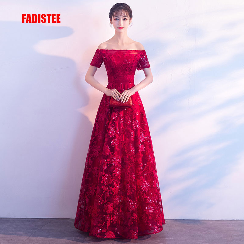 FADISTEE New arrival Gorgeous style   dress     evening     dresses   appliques flowers A-line short sleeves gown prom lace style boat neck