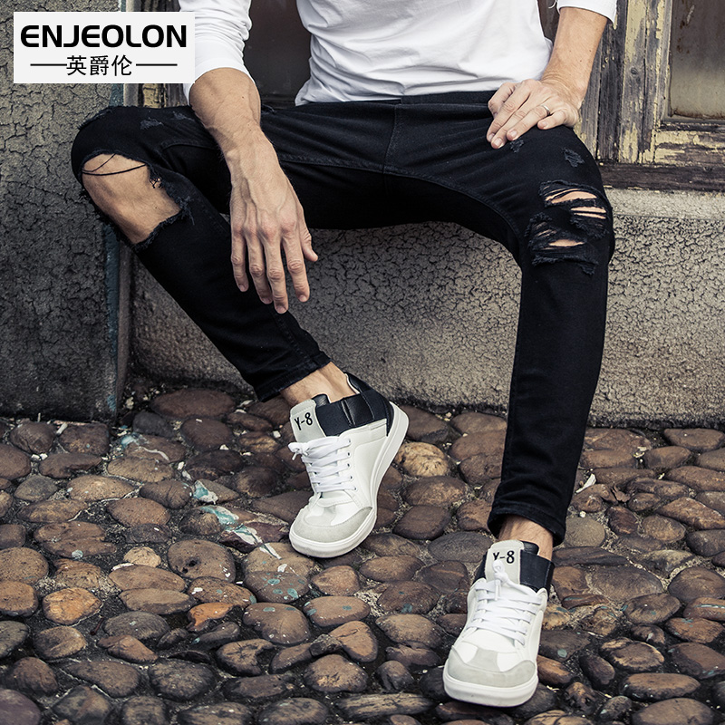 Enjeolon brand 2017 long full length men jeans pants,top high quality Slim Straight jeans males hole black Causal Pants NZ030