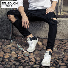 Enjeolon brand 2017 long full length men jeans pants,top high quality Slim Straight jeans males hole black Causal Pants NZ030(China)