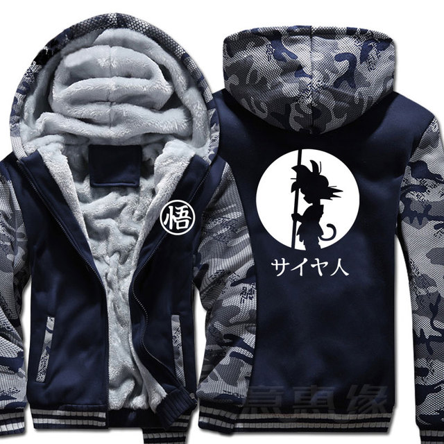 Dragon Ball Z Hoodie Son Goku Coat Jacket Winter Men Thick Zipper Sweatshirt