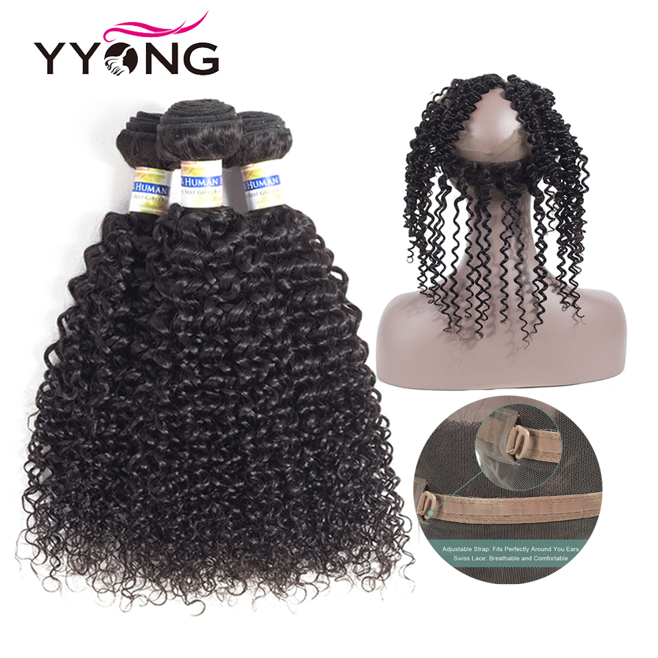 YYong Brazilian Kinky Curly Hair 360 Lace Frontal With Bundle Human Hair 3 Bundles With Closure
