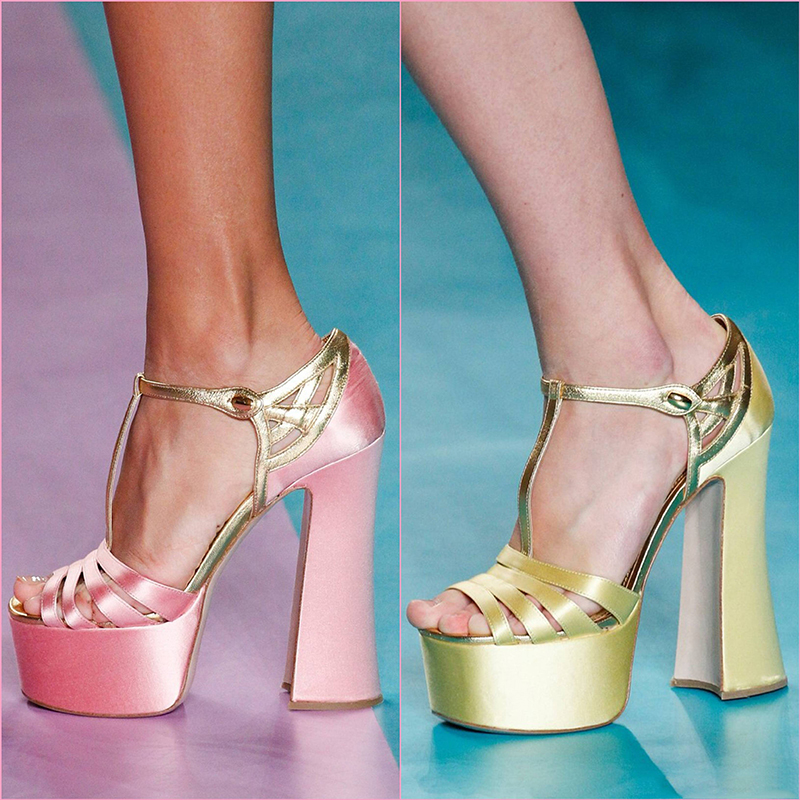 2017 Summer New Arrival Silk Buckle Platform Women Sandals Square Heel Pumps Peep toe T-Strap Sandals Pink Green Shoes Mujer xiaying smile summer new woman sandals platform women pumps buckle strap high square heel fashion casual flock lady women shoes