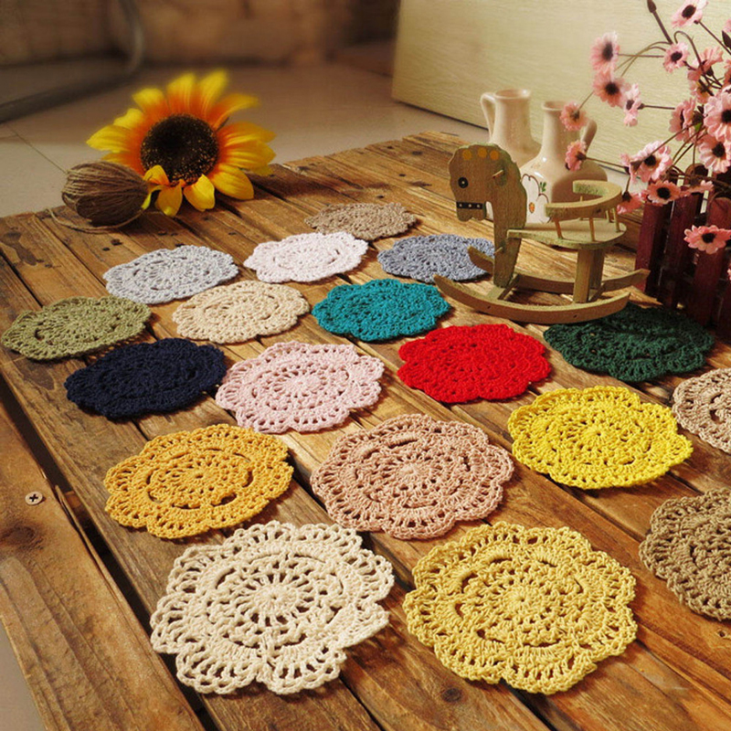 Retro Crochet Coasters Table Mat 10cm Round Handmade Mori Doilies Cup Pad Shooting Props Flower Lampshade 20pcs Wholesale