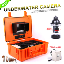 ViewEye CCD 1000TVL 360 Degree Underwater Rotating Fishing Camera Kit 8pcs White LED 10pcs IR LED 7″ TFT Color LCD Fish Finder