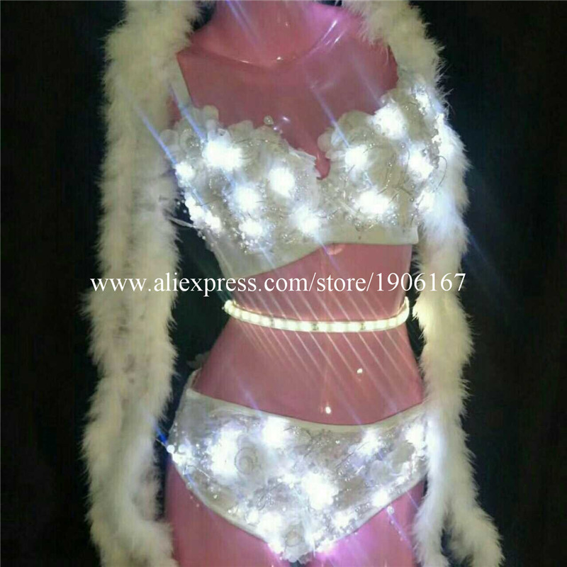 New Design Led Sexy Girl Women Bra Shorts Dress Clothes Show Stage Performance Sexy Bikini Dance Suit
