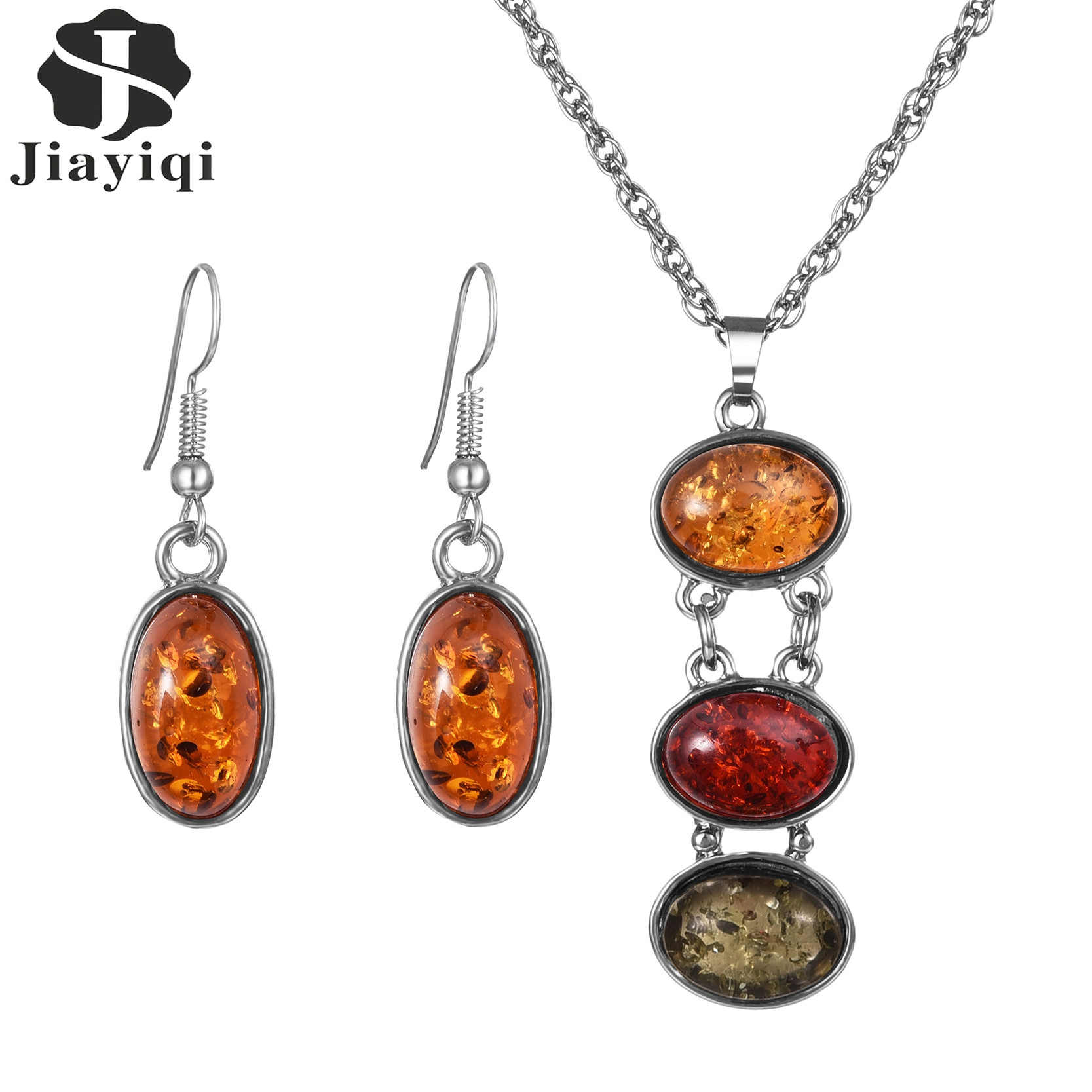 New 2017 Turkey Vintage Jewelry Earrings And Necklace For Women Tricolor African Stone Jewelry Sets Party Birthday Gift