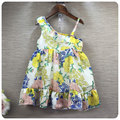 16  New Style Korean Girl Children's Garment Flower Printing Wryshoulder Camisole Lotus Leaf Skirt Girl Baby Princess