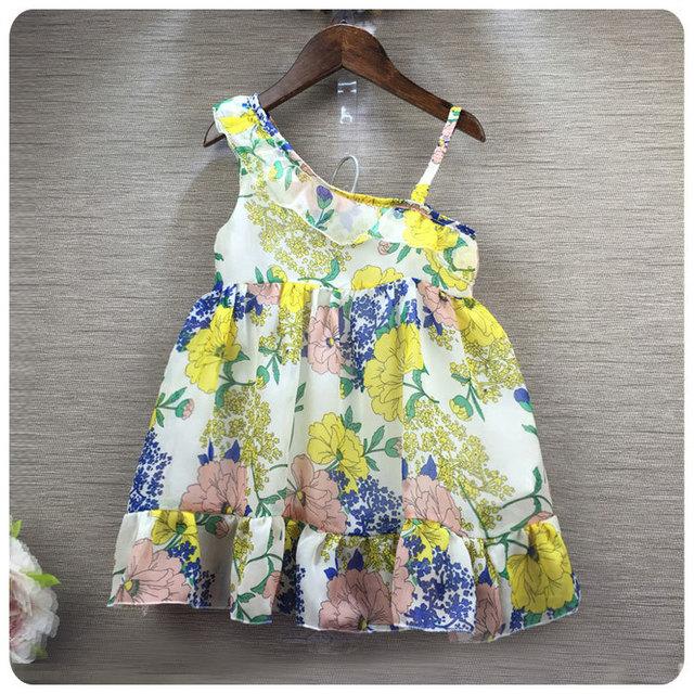 16 Nuevo Estilo de Corea de La Muchacha ropa de Los Niños Impresión de La Flor Wryshoulder Camisola de Hoja de Loto Falda Niña Princesa