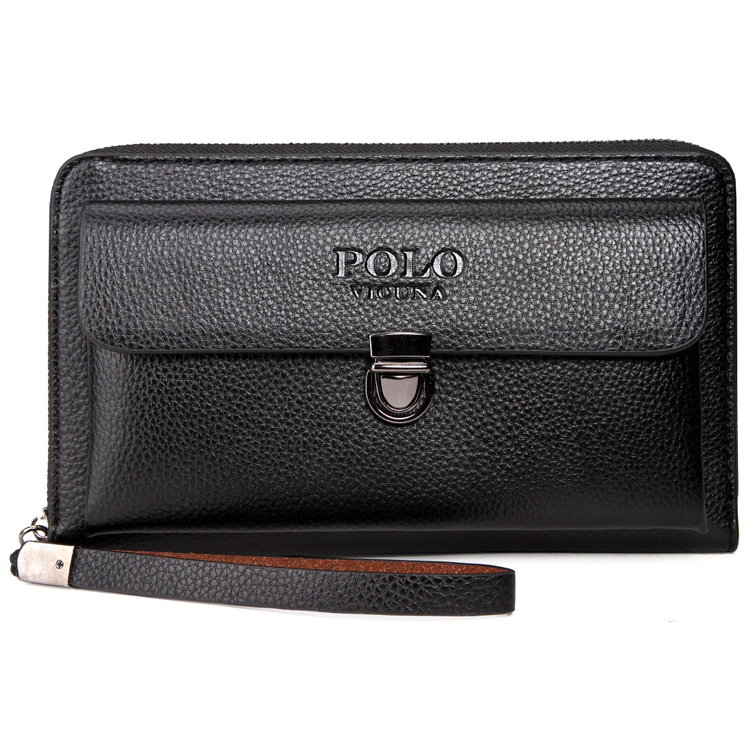 Brand Business Men Wallet Long Pu Leather Cell Phone Wallet Purse Hand Bag Zipper Top Card Large Holders