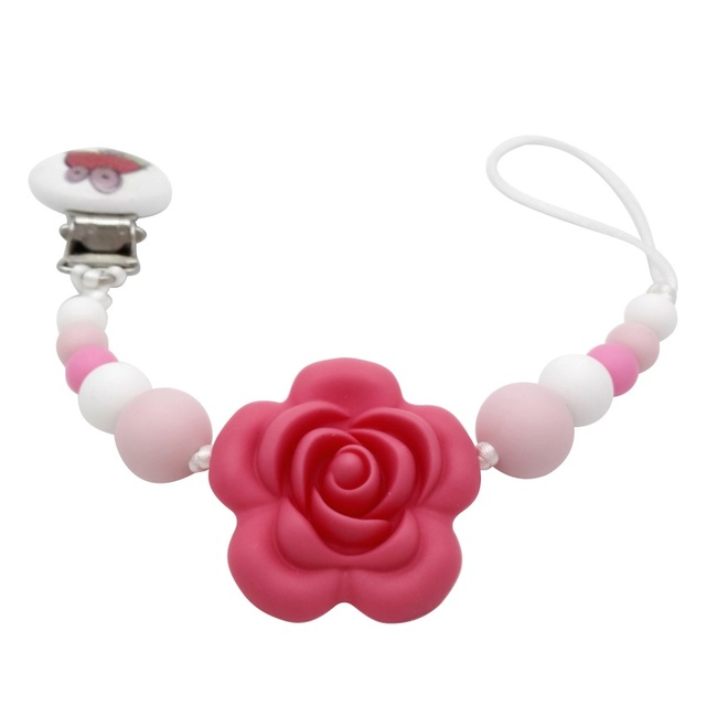 Nipples Baby Chew Toys Silicone Teething Pacifier Clips With Safe Abs Beads Silicone Pacifier Chain Holder