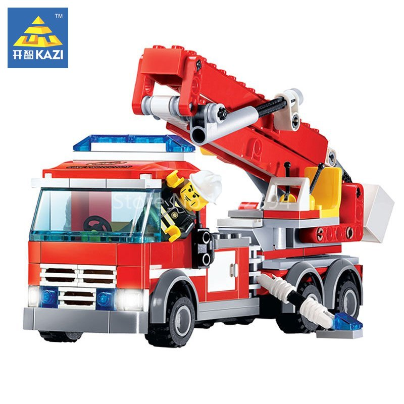 KAZI Fire Fighting Aerial Ladder Model Building Blocks Set Brick Hero Firefighter Educational Toys For Children Gift For Friends jie star fire ladder truck 3 kinds deformations city fire series building block toys for children diy assembled block toy 22024