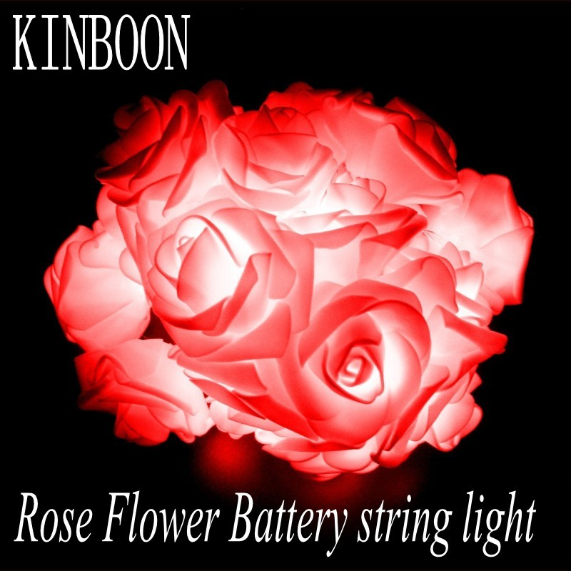 AA Battery Fashion Holiday Lighting 20 LED Novelty Rose Flower Fairy String Lights Wedding Party Valentine's Day Decoration