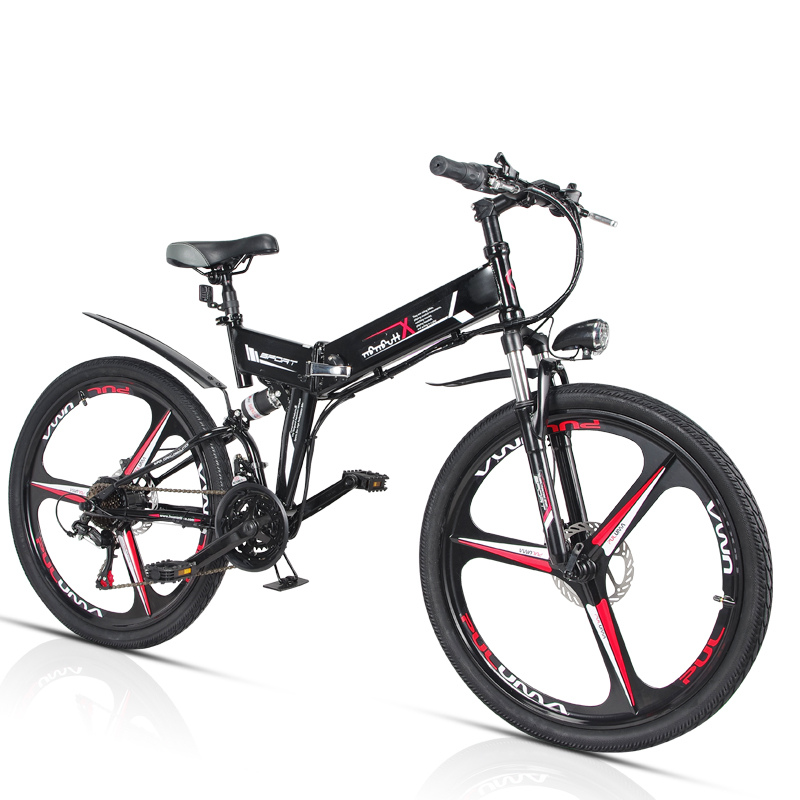 Folding electric mountain bike 110 km bicycle 350W lithium battery booster car GPS adult scooter battery car 48V stealth battery
