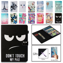 SM-T595 Tablet Case For Samsung Galaxy Tab A A2 2018 10.5 T590 T595 T597 SM-T590 Smart Cover Funda Cartoon Cat Coque Shell+Film