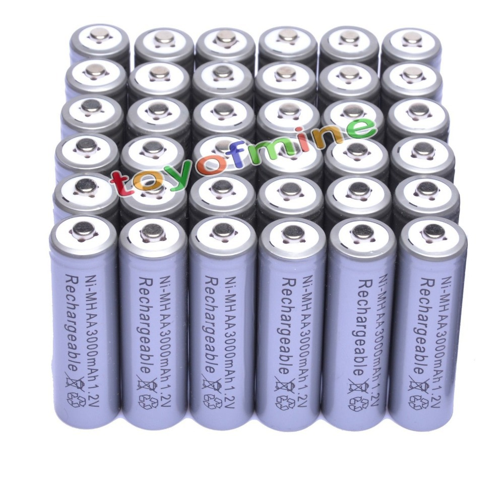 36x AA 3000mAh 2A 1.2 V Ni-MH Grey Rechargeable Battery Cell for MP3 RC Toys
