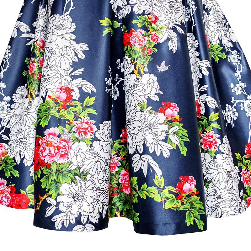 Girls Dress Navy Blue Flower Belt Vintage Party Sundress Age 6-14 Years