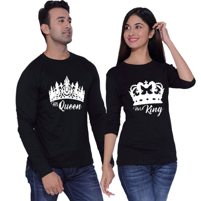 27d6b6f3489e 2019 Pure Cotton TShirt King Queen Crown Love Couple Printed Long Sleeve  Fashion Tops   Tees Brand Unisex Couple Clothes