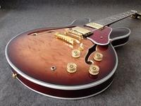 Yüksek kaliteli G-ES-335 Elektrik gitar kapitone akçaağaç üst ve arka, altın donanım