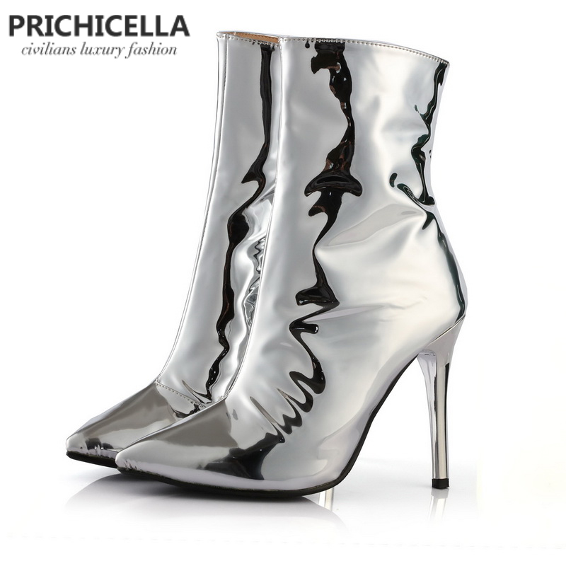 PRICHICELLA Unique silver shiny boots pointed toe sexy high heeled mirror leather ankle booties