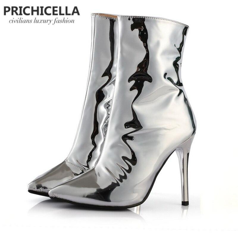 Prichicella уникальные серебряные блестящие сапоги с острым носком пикантные высокий каблук зеркальные кожаные ботильоны