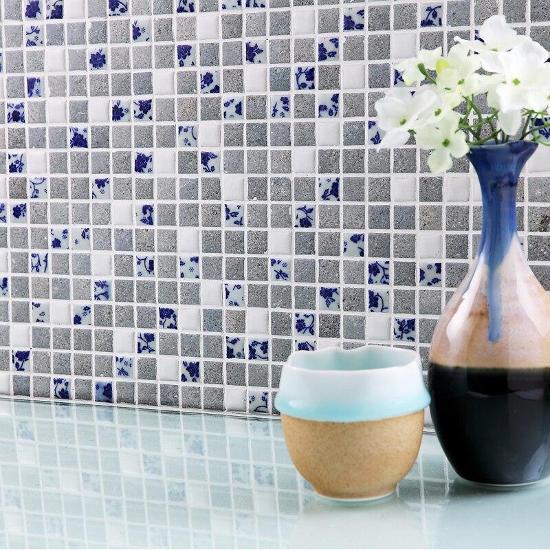 Porcelana azul y blanco de cerámica horno mosaico HMCM1049 cocina ...