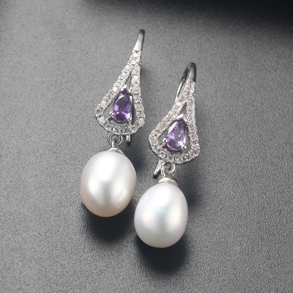925 Sterling Silver Natural Freshwater Purple Pearl Drop Earrings with Cubic Zirconia Crystals