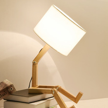 Robot wood table lamp with White Black Lampshades modern Bedroom Kids room Study Bed Sides japanese