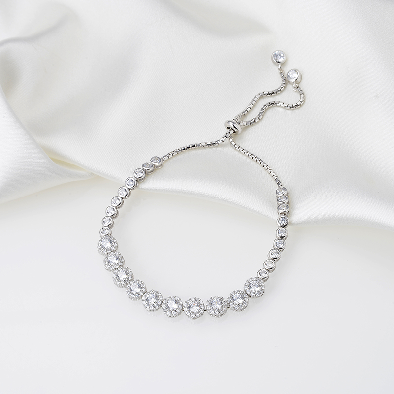 Designer Fashion 925 Sterling Silver Jewelry 3A Cubic Zirconia Party Adjustable BraceletDesigner Fashion 925 Sterling Silver Jewelry 3A Cubic Zirconia Party Adjustable Bracelet