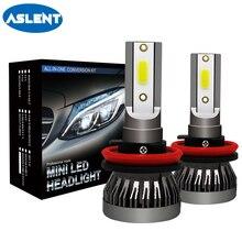 ASLENT 2 шт Мини Auto лампы светодиодный H7 H4 H11 H1 H8 H9 9005 HB3 9006 HB4 9012 светодиодный светильник автомобилей Фары противотуманные загорается 72 W 8000LM 12 V 24 V