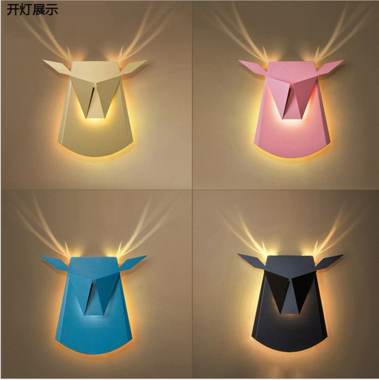 Modern Art Deco Led Indoor Wall Lamp Deer Head Iron Bedroom Stairs Living Room Wall Sconce Vanity Lights Fixture Luminaire Home
