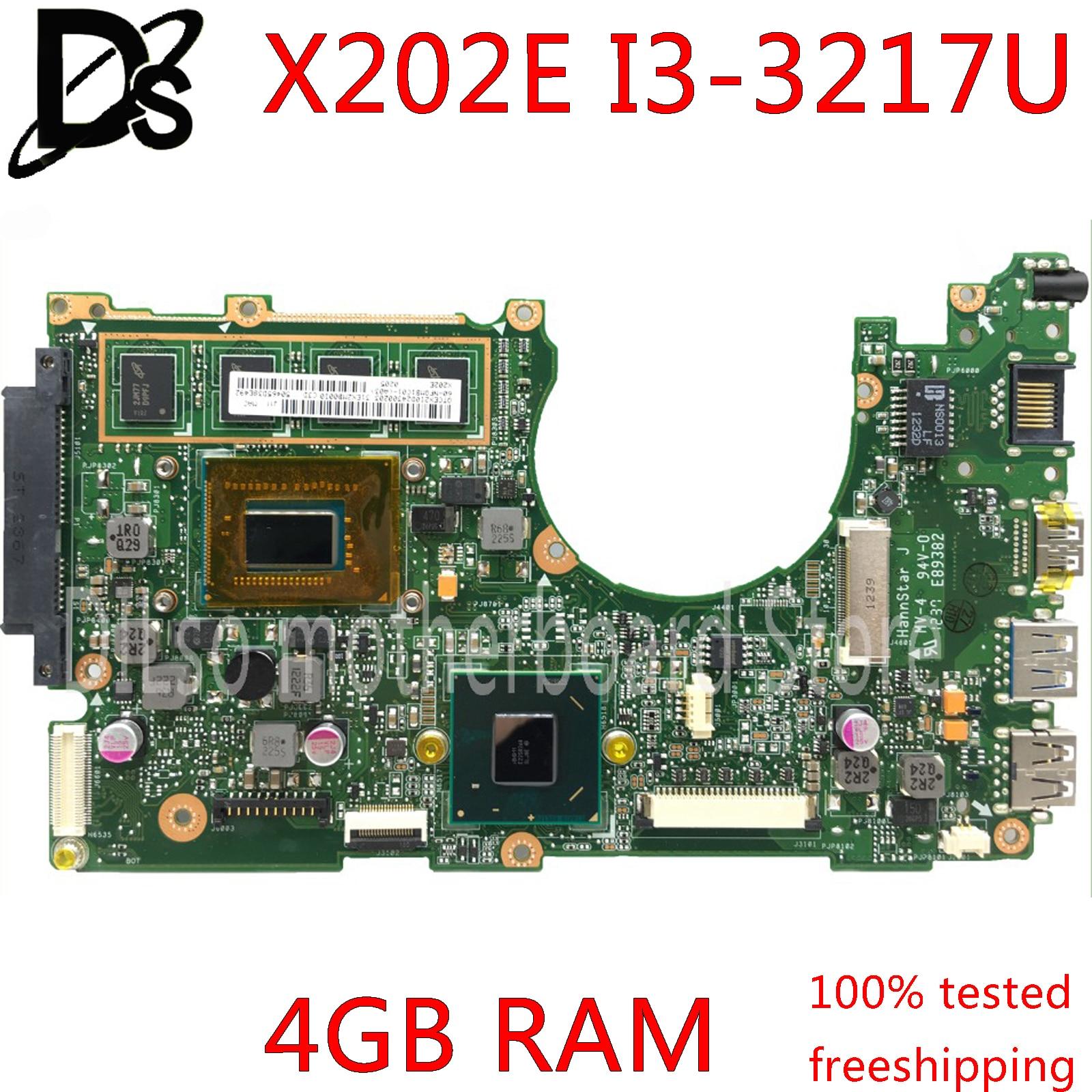 KEFU X202e For ASUS S200E X202E X201E X202EP Vivobook Motherboard REV2.0 I3-3217U CPU 4G RAM Onboard 100% Test Work