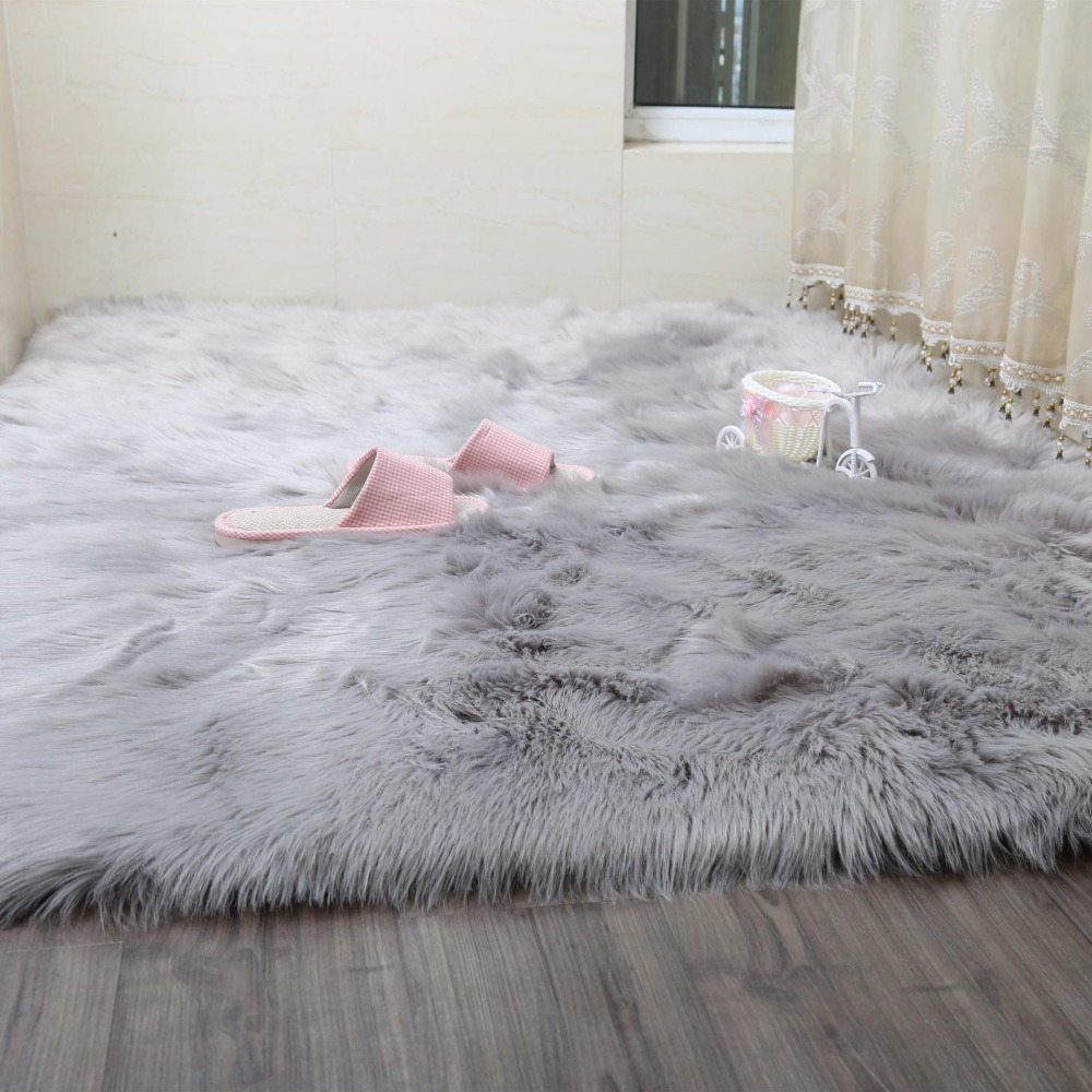 Grey Sheepskin Chair Cover Warm Hairy Carpet Seat Pad long Skin Fur Plain Fluffy Area Ru ...