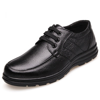 New 2019 High Quality Genuine Leather Shoes Men Flats Fashion Men's Casual Shoes Brand Man Soft Comfortable Lace up Black ZH740