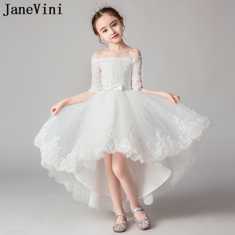 JaneVini Charming White High Low   Flower     Girls     Dresses   2019 Boat Neck Lace Appliques Princess Birthday Gowns Robe Fille Mariage