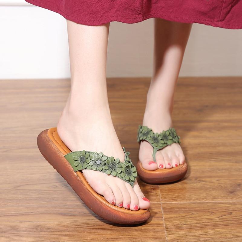 Abedake brand woman sandals 2018 summer new national style flower flat bottom leather flip flops female sweet woman slippers