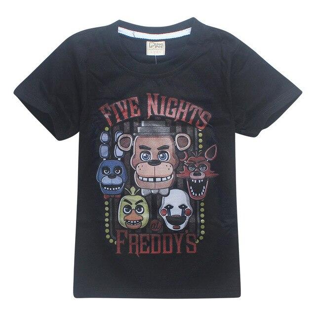 ZiKa Children Summer T Shirt Cartoon Kids Boys Short Sleeve Top Black Blue Middle Child Shirt Five Nights at Freddy's Clothes