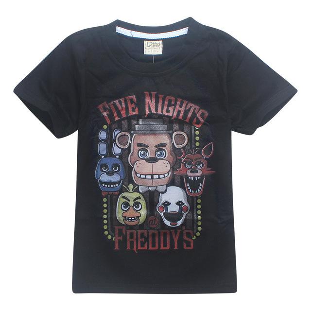 ZiKa Crianças Verão T Shirt Miúdos Dos Desenhos Animados Meninos de Manga Curta Top Preto Azul Médio Criança Camisa das Cinco Noites no Freddy roupas