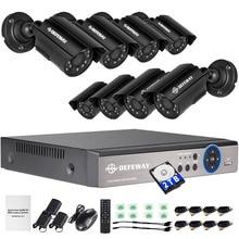 DEFEWAY 720P HD Outdoor CCTV System 2000G HDD 8CH DVR 1080P HDMI Output 1080N Home Video Surveillance Security Camera 1200TVL