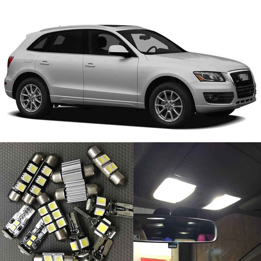 21x White Interior LED Light Bulbs Canbus Kit For 2009 2010 2011 2012 Audi Q5 Accessories Map Dome Step License Plate Light Lamp