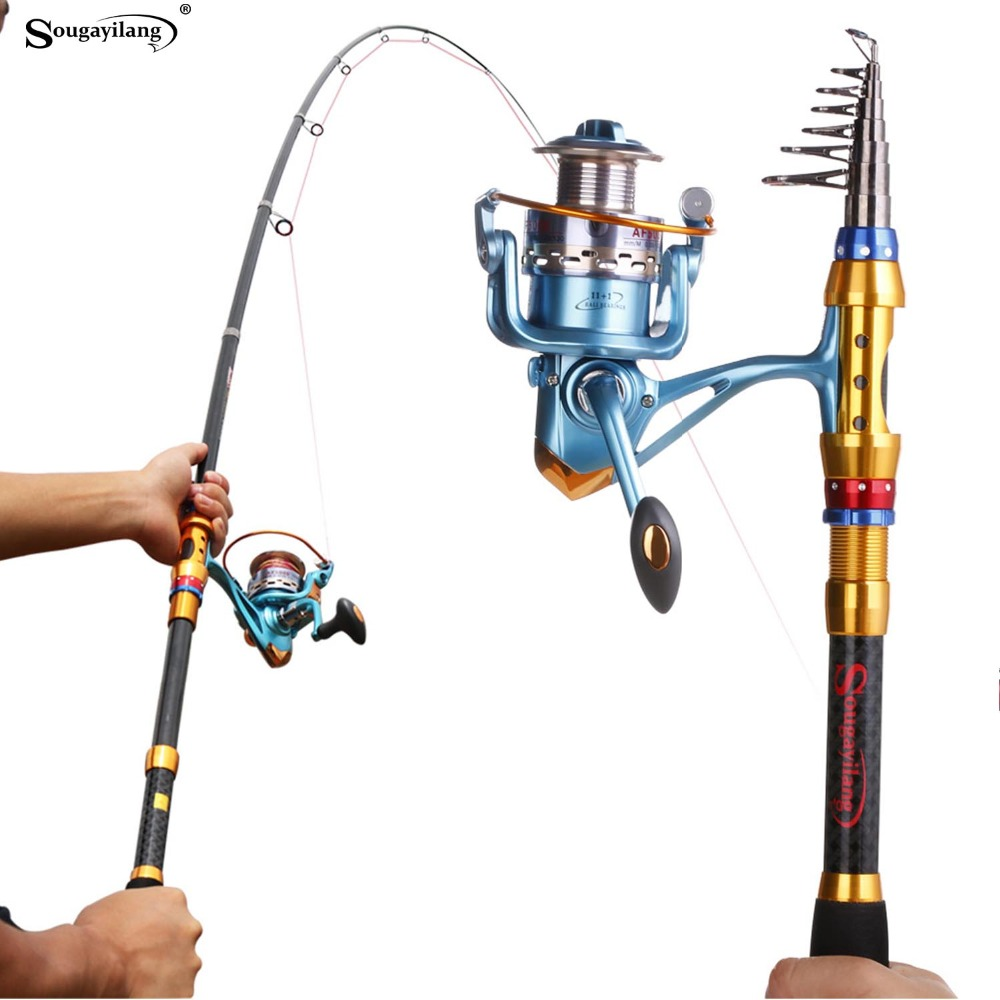 Sougayilang Telescopic Carbon Fiber Fishing Rod Sets and 14BB Spinning Reel Fishing Rod Reel Combo Fishing Trackle cana de pesca